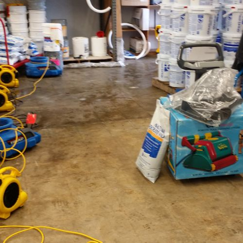 Drying out at a warehouse after a pipe burst
