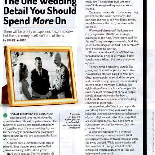 May 29, 2018:  just read this in this month's issue of MONEY magazine:  perhaps it will be helpful to couples planning their beautiful day.