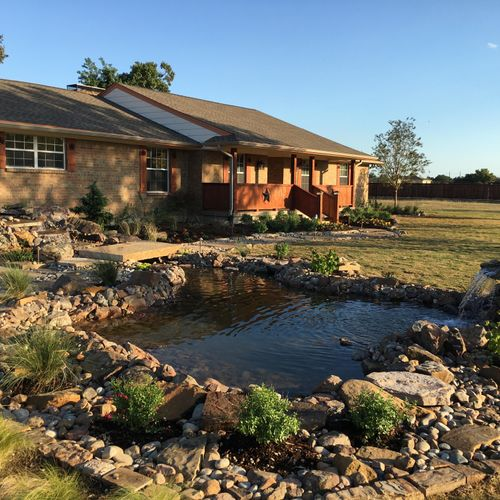 Outdoor Pond with 2 waterfalls & new landscape