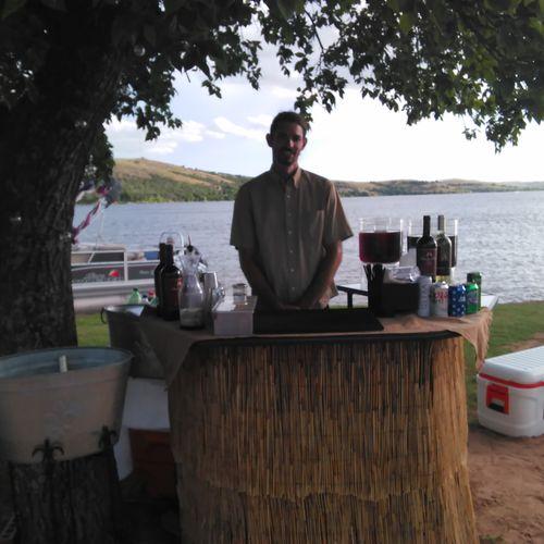 Tiki beach reception at lake Latonka!