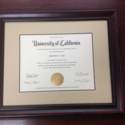 UCLA Law School Graduate 2001