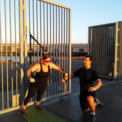 Outdoor Personal Training using the TRX on the Embarcadero.Thank You Abby!