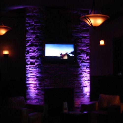 Uplighting on Stone Fireplace