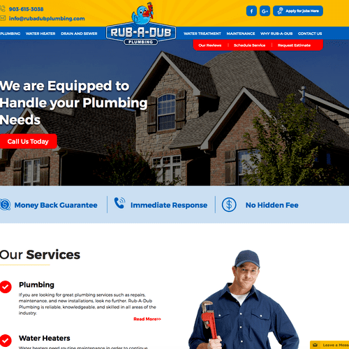 Rub-A-Dub Plumbing - Website Design