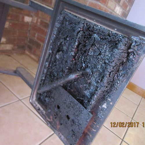 If you see creosote buildup like this you are overdue for maintenance.  This creosote was so thick it was virtually ignitable.  During a home inspection I check every fireplace and wood stove no matter how many there are.  The same goes for chimneys