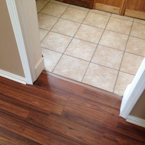 Laminate floor, Tile floor, Paint