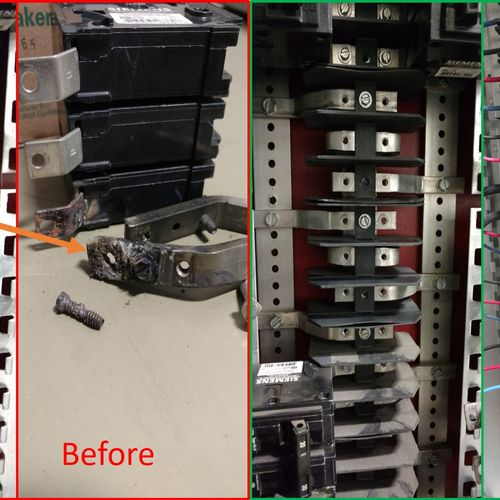 This was a loose breaker  connection that melted for industrial customer in South Dayton.  We performed the repair off hours to not impact production.