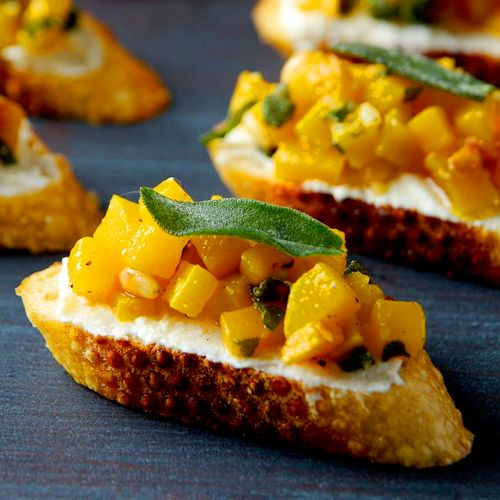 Butternut Squash Crostini with Ricotta and Sage
