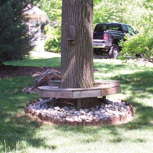 Custom Built Bench Around Tree