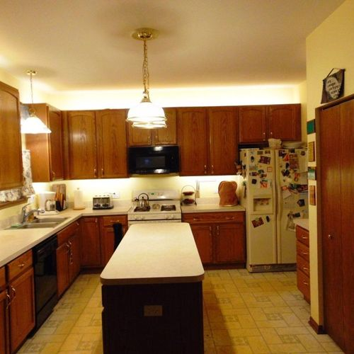 New LED Lighting in Kitchen. New Lights, Under and Over Cabinet Lighting