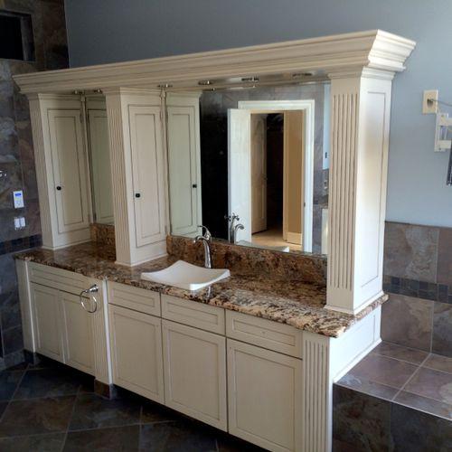 Custom painting and decorative finish on bathroom vanity