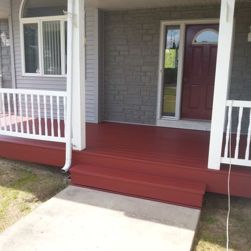 front porch and railing solid stain
