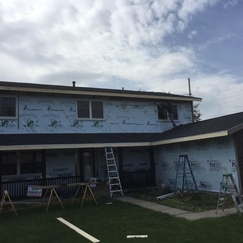 Ready for siding installation. New fanfold insulation and house wrap installed.