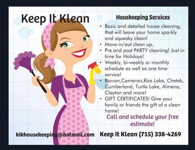 Avatar for Keep It Klean LLC Clayton, WI Thumbtack