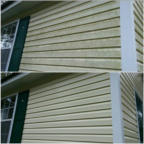 Our low-pressure house wash is what we are known for. We use special cleaning agents that won't harm your siding but will kill the algae, mildew, and mold.
