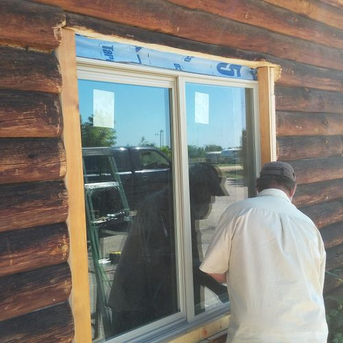 A window we installed in a log cabin
