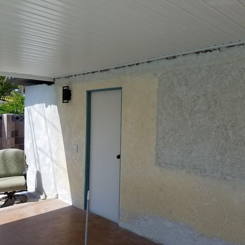 left side that brick wall was covered with stucco