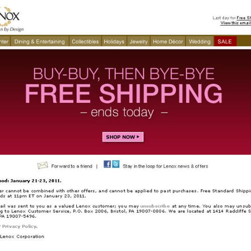 Copy for free shipping reminder email for Lenox.com