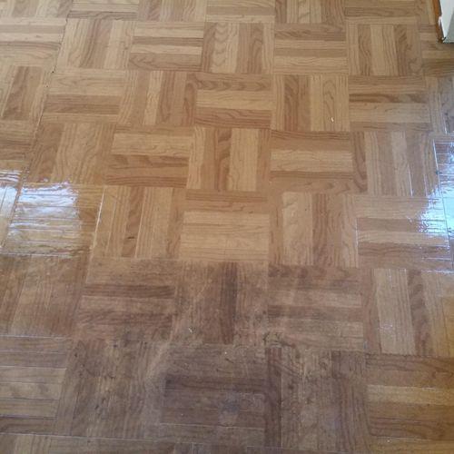 Heavily soiled floors in high traffic area. Good ol' scrubbing. Top half treated bottom not treated