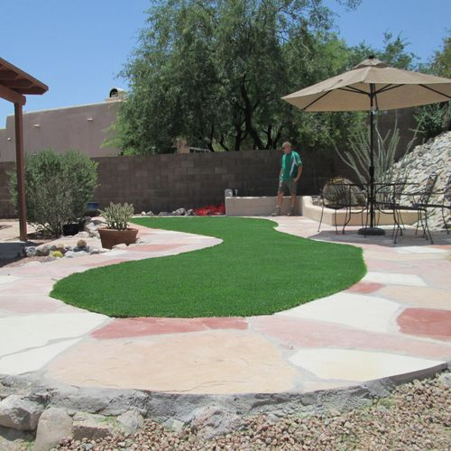 Flagstone & Synthetic Grass
