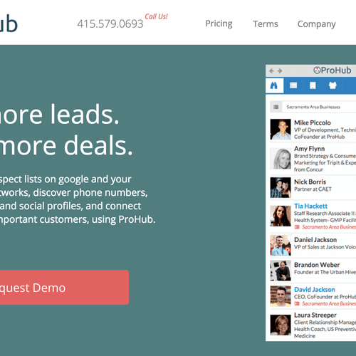 ProHub Prospector is a next generation prospecting tool for salespeople. ProHub helps salesreps quickly build prospect lists online. Once leads are added, ProHub automatically adds tons of additional information about the lead, including email address, social profiles, phone numbers, business size, location, etc.