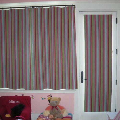 Roman shade and drapes