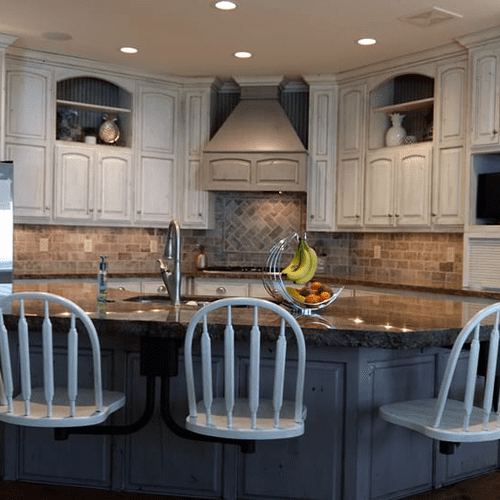 We can refinish your cabinets or re-design it and build you new cabinets,