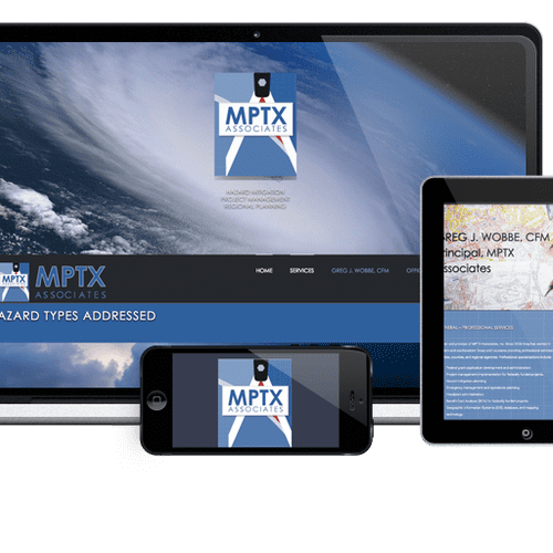 MPTX-inc.com (Texas) is a company that deals with hazard mitigation. We created a logo and website that fit their unique line of business.