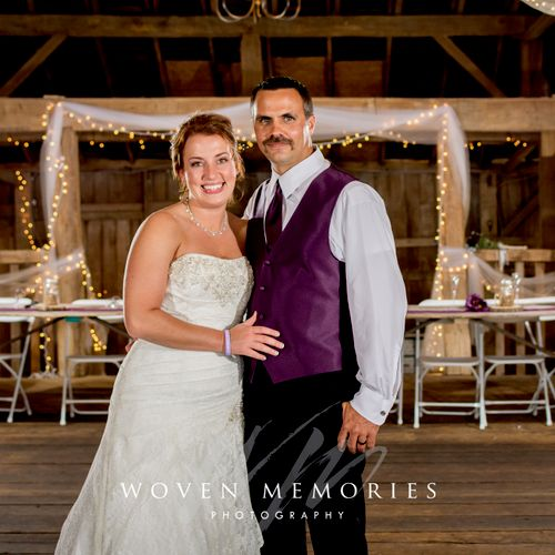Our lighting systems let us work in all settings, like a romantic and dimly lit barn reception.