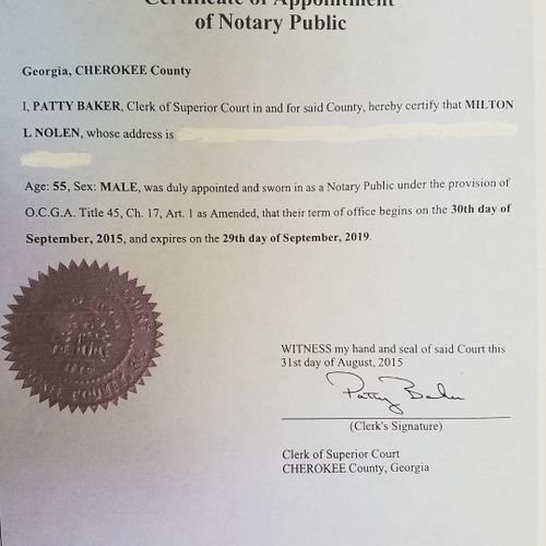 Notary Public Certificate of Appointment