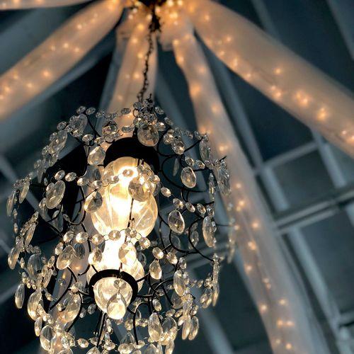 This custom chandelier is pure elegance