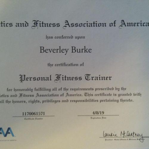 AFAA certification.