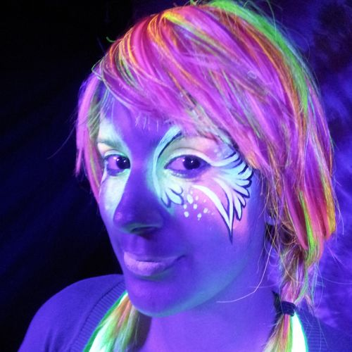 Having a UV blacklight party? Have UV face painting!