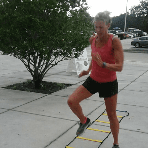 working on agility with the step ladder.       instagram: chofitnessandtraining