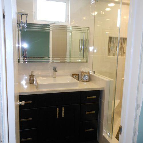 After - Custom made vanity, counter top, sink, window, tile work, etc. (Newport Beach, CA).