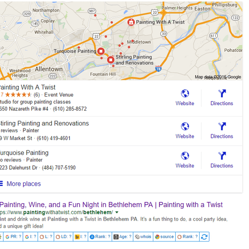 We ranked PWAT in Bethlehem #1 on Google Maps and #1 in organic Search.