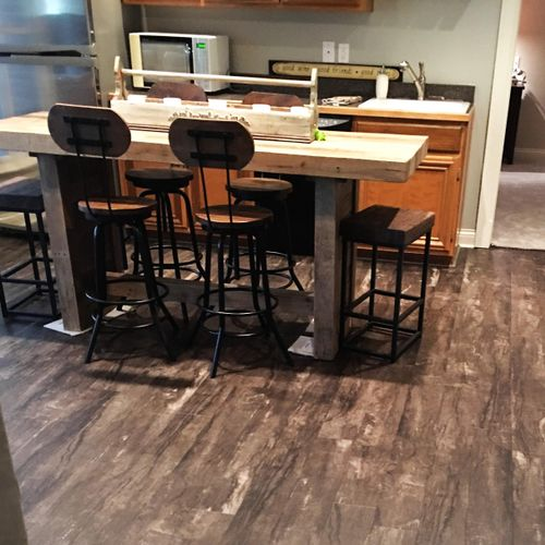 The waterproof and durable flooring are perfect for this basement.