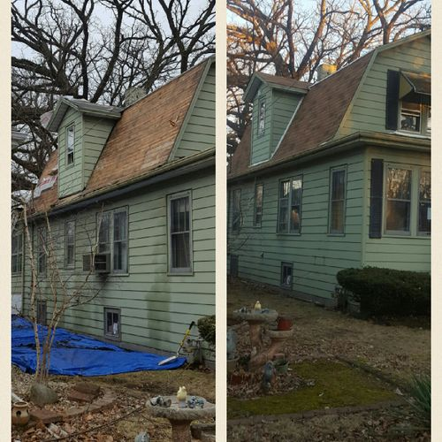 before and after  ( roofing job)