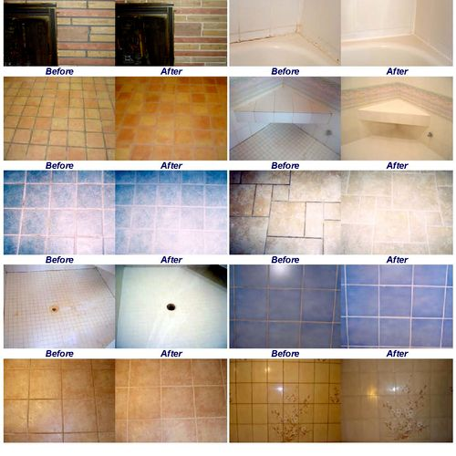 Here are some before and after pictures.  We make tile, stone, grout and caulk look like new again!
