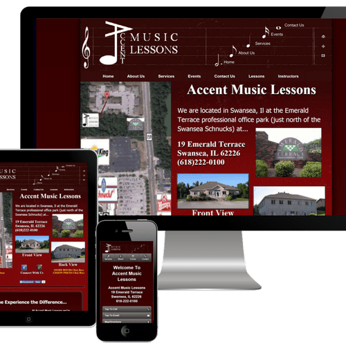 Accent Music Lessons - responsive website