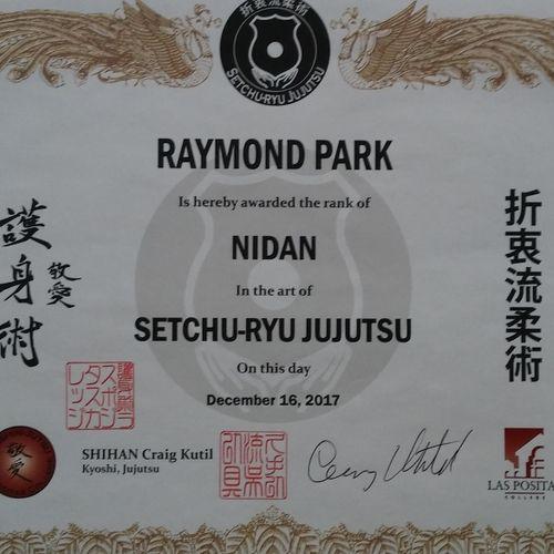 Nidan (Second degree black belt) Certificate