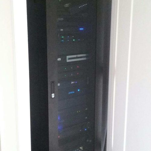 Home security and media tower we installed for a complete home security and automation customer.
