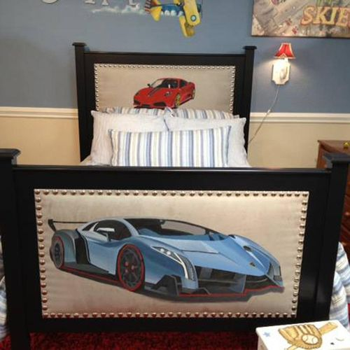 Custom hand painted bed for boy's room.