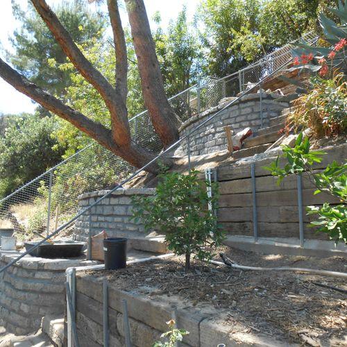 Steep hillside garden terraces! One of our specialties!