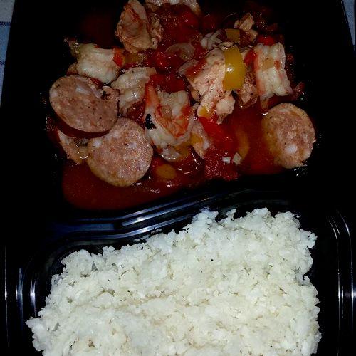 Paleo Client Entrée: Jambalaya with Cauliflower Rice