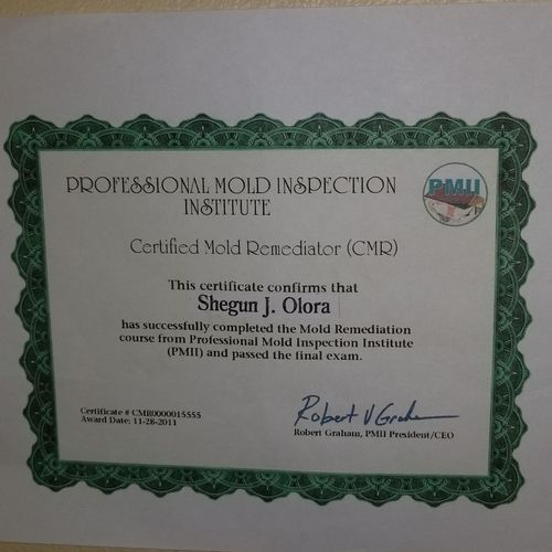 CERTIFIED MOLD REMEDIATOR CERTIFICATION
