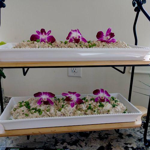 Chicken and tuna salad on a self serve deli bar