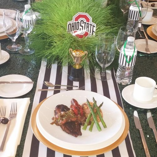 Plated meals for a Buckeye themed bash.