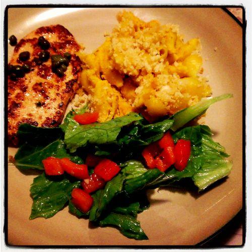 "Vegan entree and sides: Chik'n piccata, mac and ""cheese"", fresh bruschetta salad"