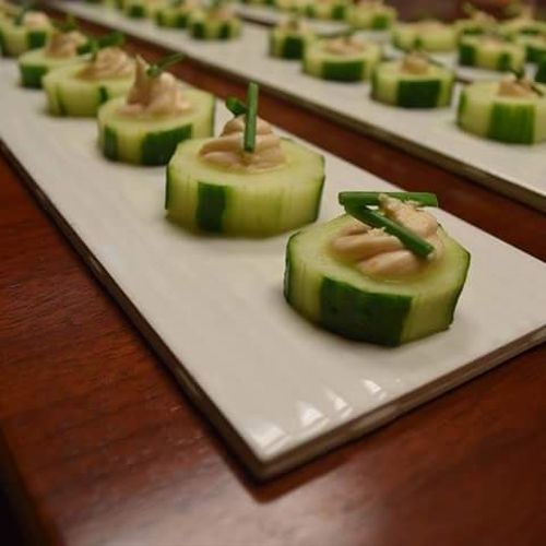 Cucumber salmon mousse canapes
